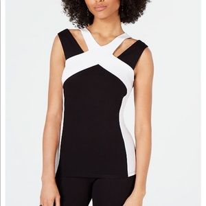 BNWOT I.N.C. Color blocked Cut Out Top